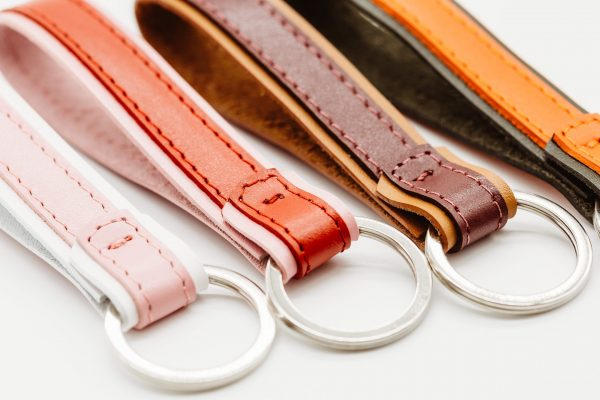 leather keychains red pink green orange camel