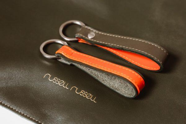 leather keychain olive set