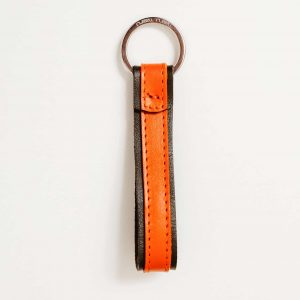 olive green and orange leather keychain